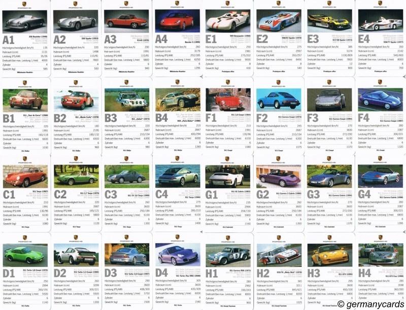 S Quartett Kartenspiel Porsche Germanycards